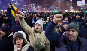 Demonstranter i Bukarest